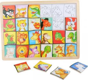 Puzzle con teste di animali da accoppiare in legno. Gioco motorio per bambini