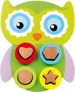 Puzzle Civetta gioco attività in legno. Allenamento motricità bambini