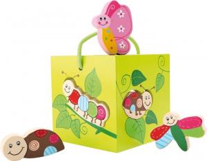 Dado gioco motricità didattico Mondo degli insetti in legno.Giocattolo per bambini