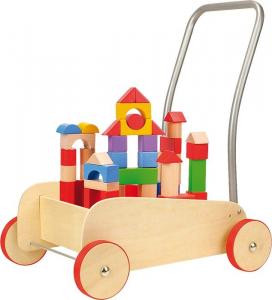 Carrello primi passi con Cubetti da costruzione in legno,gioco motricità bambini