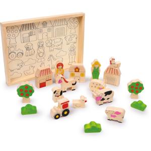 Cubetti da costruzione in legno massiccio, Fattoria. Gioco per bambini