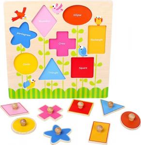 Puzzle ad incastro in legno per imparare le Forme Geometriche e inglese
