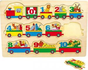 Puzzle in legno con Numeri ed animali. Gioco per bambini