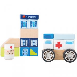 Set costruzioni in legno Ambulanza gioco incastro per bambini Legler 10079