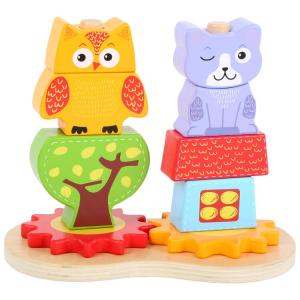 Gioco ad incastro per bambini in legno Gatto e civetta