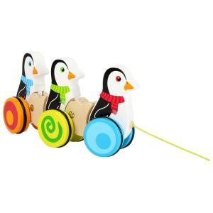 Pinguini da tirare gioco in legno per bambini