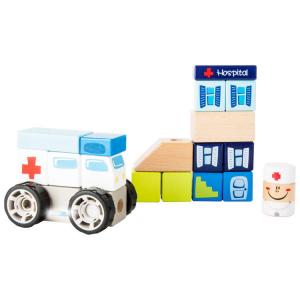 Set costruzioni in legno ambulanza con suono