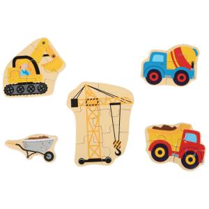Il mondo dei cantieri Puzzle in scatola gioco per bambini in legno