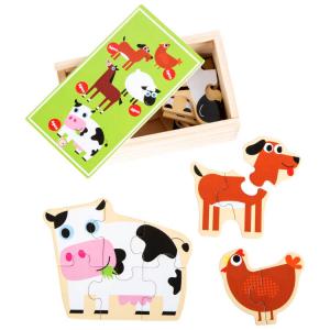 In fattoria Puzzle in scatola gioco in legno per bambini
