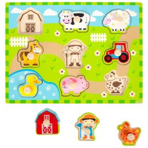 Puzzle in legno Vita da fattoria gioco bambini