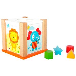 Dado d'incastro in legno Animali dello zoo gioco motricità per bambini