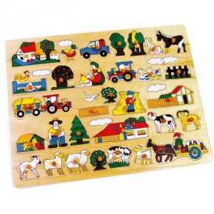 Puzzle bambini didattico ad incastro grande fattoria animali in legno