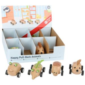 Macchinina Animali allegri in legno con carica. Espositore/display