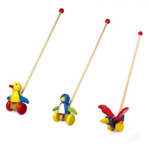 Gioco in legno da spingere per bambini mod. Battito d'ali, 3 pezzi