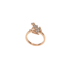 Anello Kissing Frog in oro rosa e diamanti
