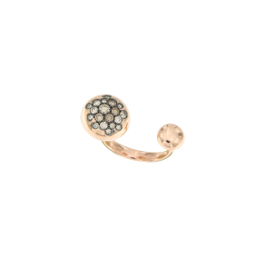 Anello borchie in oro rosa e diamanti brown