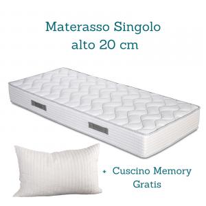 Kit Rete Materasso alto 20 cm e Cuscini Memory in omaggio materasso ortopedico in waterfoam e rete ortopedica