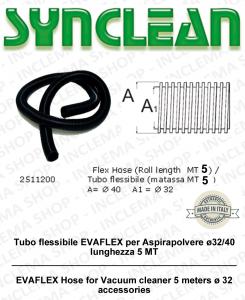 Tuyau flexible EVAFLEX pour aspirateur ø32/40 longueur 5 MT