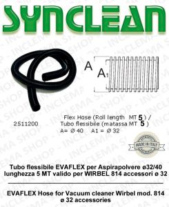 Tuyau flexible EVAFLEX pour aspirateur ø32/40 longueur 5 MT valable pour WIRBEL 814 accessori ø 32