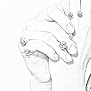 Anello borchie in oro 18k e diamanti