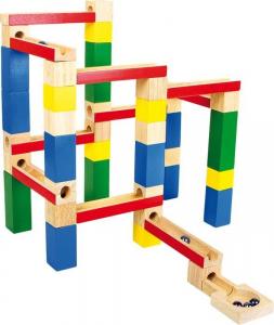Pista costruzione per biglie a gioco in legno per bambini