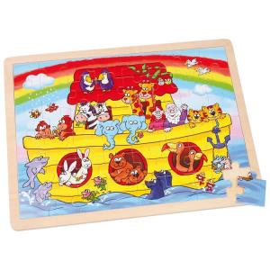 Puzzle arca di noè in legno gioco didattico bambini 48 pezzi