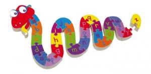 Puzzle serpente ABC in legno gioco x bambini x imparare alfabeto