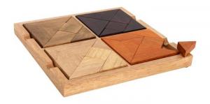 Puzzle 4 in 1 in legno faggio 7 pezzi ciascuno gioco/giocatolo x bambini