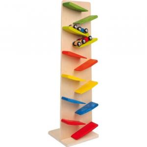 Pista/Torre a cascata zip zap con trenino gioco in legno per bambini