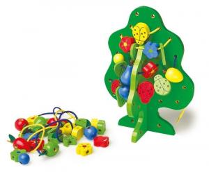 Albero da infilare in legno gioco in legno bambino x aiuto sviluppo