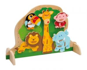 Tavola/tavoletta da infilare animali in legno gioco per bambini