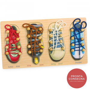 Imparare ad allacciare le scarpe gioco motricità bambini Legler 8158