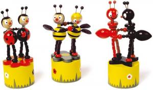 Animali in legno a pressione Coccinella, ape e formica, gioco,bomboniera battesimo