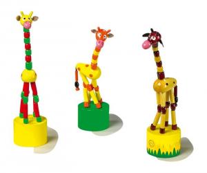 Animali a pressione Giraffa in legno, set da 3. idea regalo bomboniera battesimo bambino