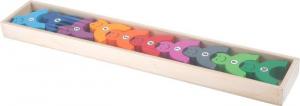 Torre in legno di omini con i numeri per imparare a contare. Gioco per bambini