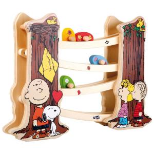 Pista per biglie in legno gioco bambini Peanuts Snoopy Charlie Brown
