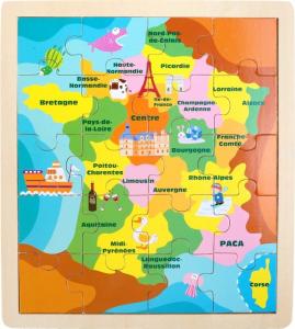 Puzzle in legno Francia con monumenti e simboli