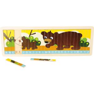 Puzzle per Imparare alfabeto con Famiglia di orsi. Gioco per bambini