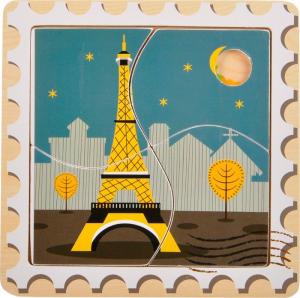 Puzzle in legno Luoghi di interesse: Berlino, Londra, Parigi