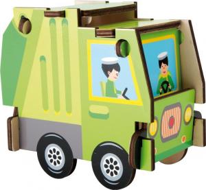 Set da costruzione in legno Camion dei rifiuti. Gioco per bambini