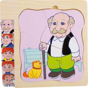 Puzzle in legno a strati La vita del nonno. Puzzle per bambini