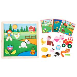 Puzzle magnetico in legno Fattoria Gioco per bambini