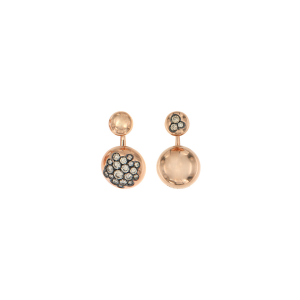Orecchini Glamour mix and match in oro rosa e diamanti brown
