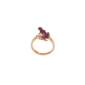Anello Kissing Frog in oro 18k e rubini
