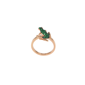 Anello Kissing Frog in oro 18k e tsavorite