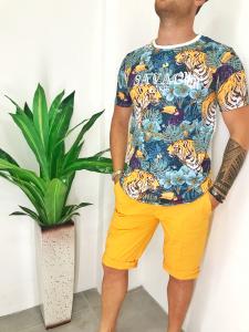 T-shirt uomo in cotone elasticizzato in fantasia safari TG M/L/XL/XXL
