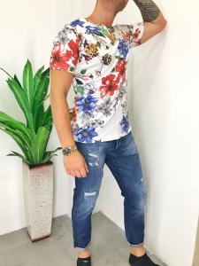T-shirt uomo in cotone elasticizzato fantasia floreale blu e rossa prodotto realizzato in Italia TG S/M/L/XL