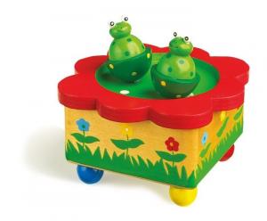 Carillon Stagno con Rane in legno musica giocattolo bambini