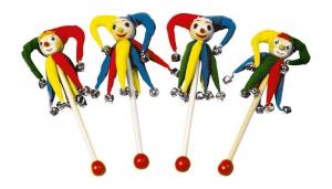 Bacchette in legno  a sonagli con pagliacci Clown strumento musicale gioco bambini