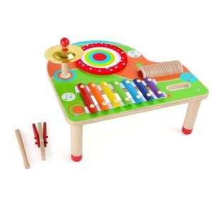 Tavolo per la musica giocattolo in legno con xilofono e strumenti musicali Le note